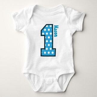 1st Birthday Boy Blue Polka Dots One Year Old N003 Tshirt