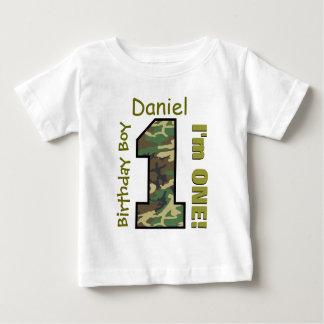 1st Birthday Boy Camo One Year Custom Name V007 T-shirt