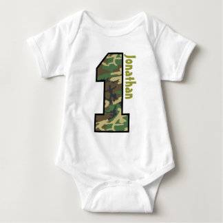 1st Birthday Boy Camo One Year Old with Name V07N Baby Bodysuit