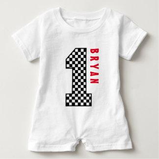 1st Birthday Boy CHECKS One Year Custom Name V007B Baby Romper