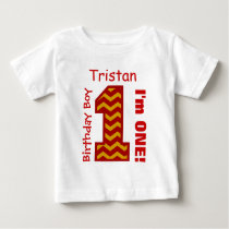 1st Birthday Boy CHEVRON One Year Custom Name V11 Baby T-Shirt