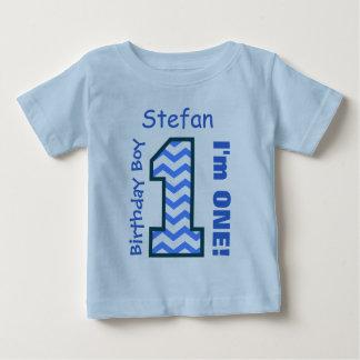 1st Birthday Boy CHEVRON One Year Custom Name V14A Tee Shirt
