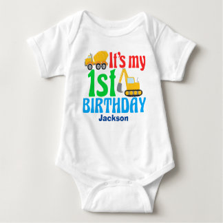 1st Birthday Boy Construction Vehicle Party Baby Bodysuit