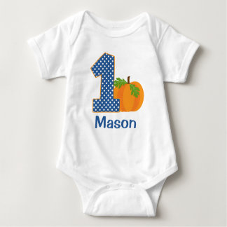 1st Birthday Boy Fall Pumpkin Personalized Baby Bodysuit