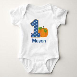 1st Birthday Boy Fall Pumpkin Personalized Baby Bodysuit