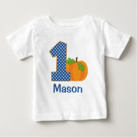 1st Birthday Boy Fall Pumpkin Personalized Baby T-Shirt