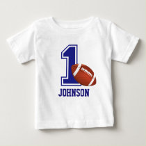 1st Birthday Boy football Personalized Baby T-Shirt