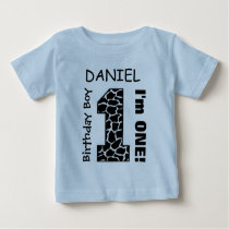 1st Birthday Boy GIRAFFE One Year Custom Name A3 Baby T-Shirt