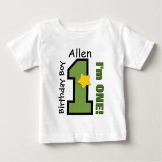 1st Birthday Boy GREEN One Year Custom Name A02 Baby T-Shirt