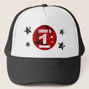 1st Birthday Boy Grunge Style Red Black A01 Trucker Hat