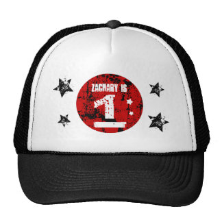 1st Birthday Boy Grunge Style Red Black A01 Trucker Hat