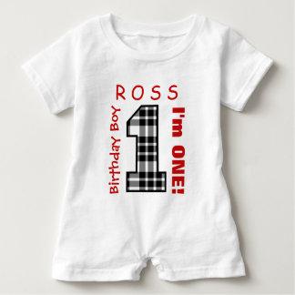 1st Birthday Boy One Year Black Plaid Number V01R Baby Romper