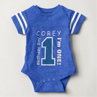 1st Birthday Boy One Year Blue Number V01L Baby Bodysuit