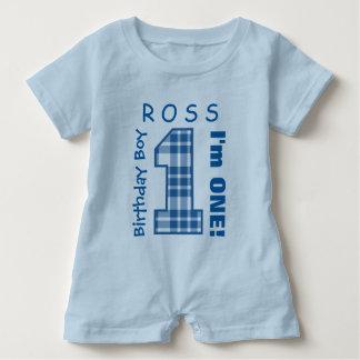 1st Birthday Boy One Year Blue Plaid Number V01N2 Baby Romper