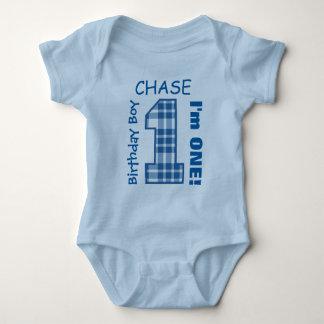 1st Birthday Boy One Year Blue Plaid Number V01N Baby Bodysuit