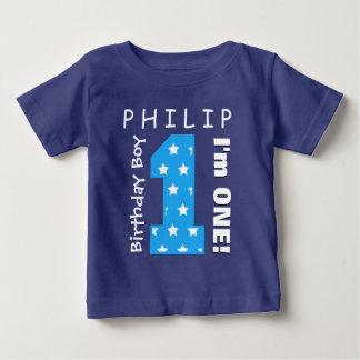 1st Birthday Boy One Year Blue Stars V01H T Shirt