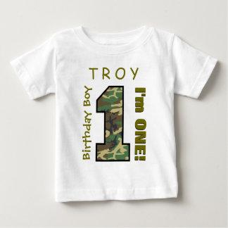 1st Birthday Boy One Year Camo Number V01L Baby T-Shirt