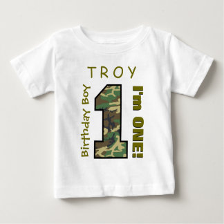 1st Birthday Boy One Year Camo Number V01L Tees