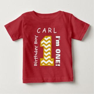 1st Birthday Boy One Year Chevron Number V01Q Baby T-Shirt
