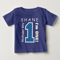 1st Birthday Boy One Year Custom Name Blue V01C Baby T-Shirt