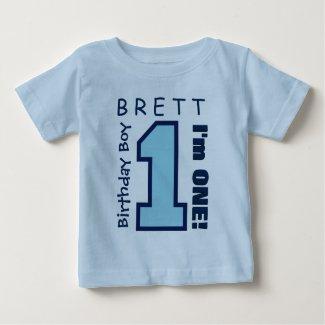1st Birthday Boy One Year Custom Name Blue V01D Baby T-Shirt