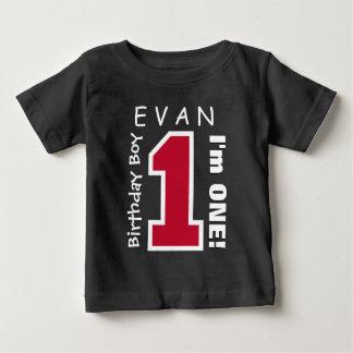 1st Birthday Boy One Year Custom Name Red V01B Shirt