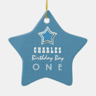 1st Birthday Boy One Year Old Blue White Star D04 Ceramic Ornament