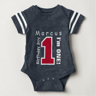 1st Birthday Boy One Year Red Number V01M Baby Bodysuit