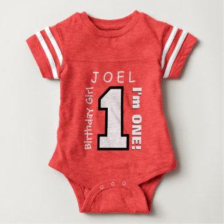 1st Birthday Boy One Year White Black Number V01Q Baby Bodysuit