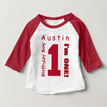 1st Birthday Boy One Year White Red Number V01R Baby T-Shirt