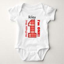 1st Birthday Boy PLAID 1 Year Custom Name V10 Baby Bodysuit