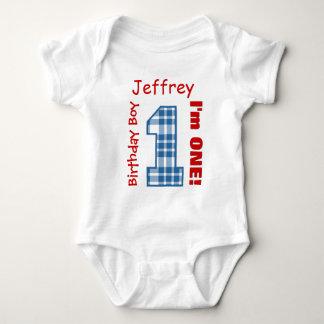 1st Birthday Boy PLAID 1 Year Custom Name V12A Baby Bodysuit