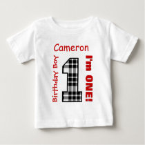1st Birthday Boy PLAID 1 Year Custom Name V12B Baby T-Shirt