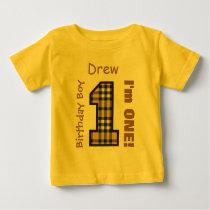 1st Birthday Boy PLAID 1 Year Custom Name V12C Baby T-Shirt