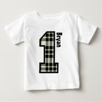 1st Birthday Boy PLAID One Year Custom Name V007B Baby T-Shirt