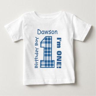 1st Birthday Boy PLAID One Year Custom Name V03 T-shirt