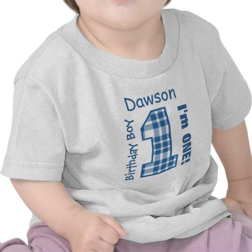 1st Birthday Boy PLAID One Year Custom Name V03 T Shirt