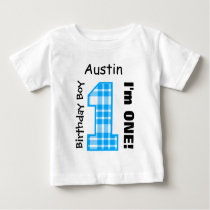 1st Birthday Boy PLAID One Year Custom Name V14A Baby T-Shirt