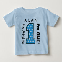 1st Birthday Boy POLKA DOTS One Year Custom Name 1 Baby T-Shirt