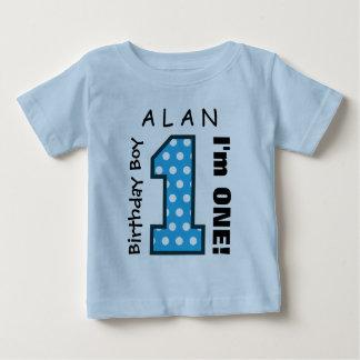 1st Birthday Boy POLKA DOTS One Year Custom Name 1 T-shirt