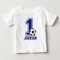 1st Birthday Boy soccer,football Personalized Baby T-Shirt