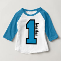 1st Birthday Boy Sports Number One Year V007A Baby T-Shirt