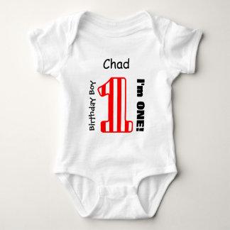 1st Birthday BOY Stripes One Year Custom Name V06A Baby Bodysuit