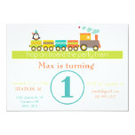 1st Birthday Boy Train Invitation