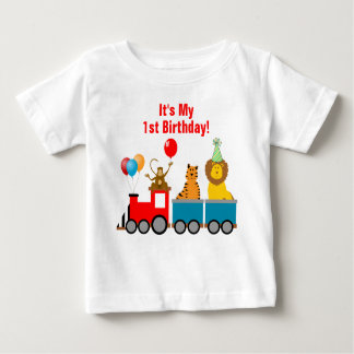 1st Birthday Boy Zoo Safari Animals Lion Monkey Tshirt