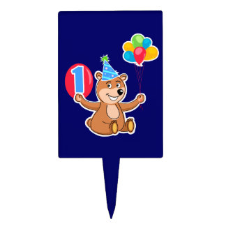 1st Birthday Brown Bear Balloons Cake Picks