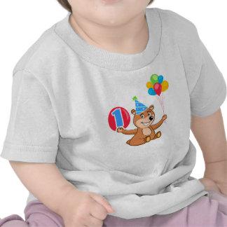 1st Birthday Brown Bear Balloons Shirt