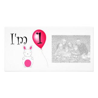 1st Birthday bunny red balloon Photo Greeting Card