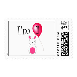 1st Birthday bunny red balloon Postage Stamp