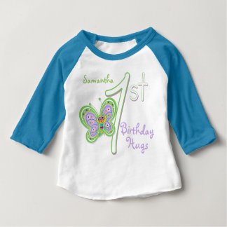 1st Birthday Butterfly Hugs Custom Name Baby T-Shirt